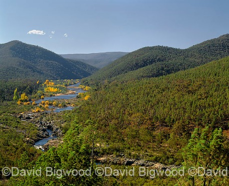 Australia: Snowy River winds through a valley in the Snowy Mount